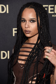 Zoe Kravitz punched up her beauty look with a smoky cat eye.