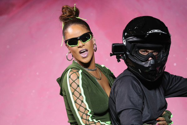 Rihanna went sporty with these half-jacket sunglasses at the Fenty Puma Spring 2018 show.
