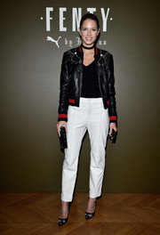 Helena Bordon teamed her jacket with high-waisted pants by Cris Barros.