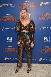 Brie Larson dazzled in a sparkling Rodarte crop-top with mutton sleeves at the special screening of 'Captain Marvel.'