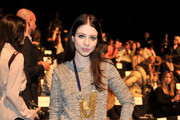 Michelle Trachtenberg Wears an Eclectic Ensemble for Fashion Week