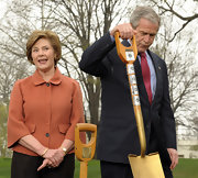 Laura Bush looked so chic in a rust-colored swing jacket.