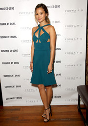 Jamie Chung chose a cool and sexy teal cutout dress by Cushnie et Ochs for the label's intimate dinner at Gjelina.