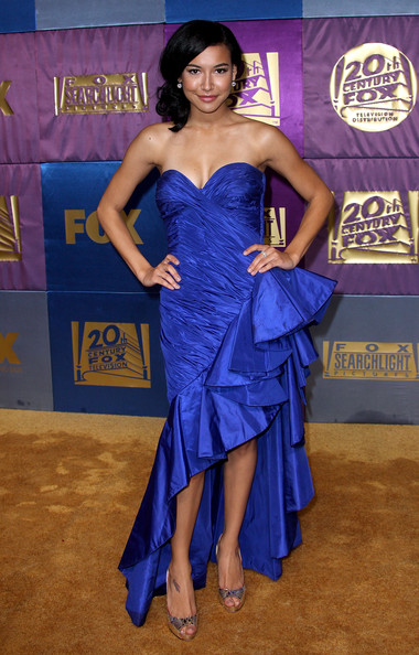 Naya Rivera dazzled at the 2010 Fox Golden Globe party in reflective mirrored gold peep toe pumps.