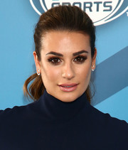 Lea Michele was fresh-faced at the Fox 2016 Upfront with her hair pulled back in a stylish ponytail.