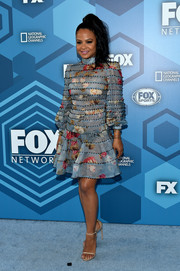 Christina Milian wore a cute paneled floral dress to the Fox 2016 Upfront.