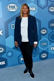 Queen Latifah teamed a blue blazer with a white shirt and black pants for the Fox 2016 Upfront.