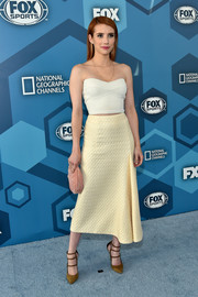 Emma Roberts was summer-chic in a ribbed tube top by Victoria Beckham at the Fox 2016 Upfront.