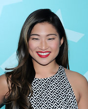 Jenna Ushkowitz's long loose waves gave her an instant red carpet look FOX's programming party.