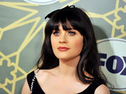 Zooey Deschanel wore her long locks with an adorable ribbon accent at the FOX All Star Party.