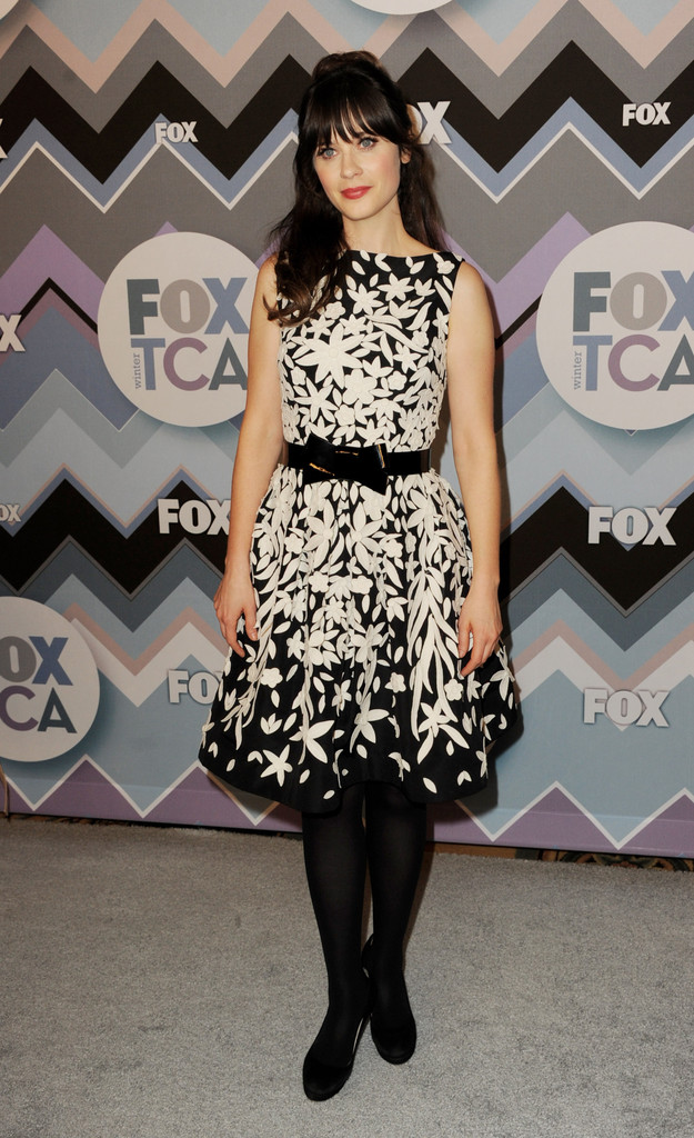Actress Zooey Deschanel arrives at the FOX All-Star Party at the Langham Huntington Hotel on January 8, 2013 in Pasadena, California.