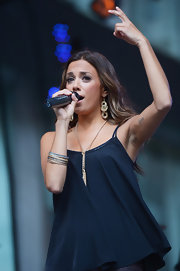 Jana Kramer stacked an assortment of colored skinny bangles on her arm to accessorize her performance outfit for the 'FOX & Friends' All American Concert Series.