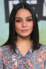 For her beauty look, Vanessa Hudgens teamed neutral eyeshadow with a glossy lip.