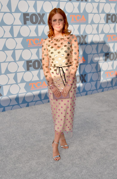 Brittany Snow looked adorable in a nude midi dress with polka dot sequins at the Fox Summer TCA 2019 All-Star Party.