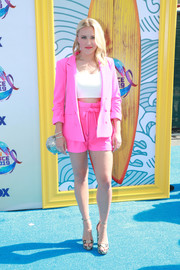 Emily Osment looked peppy in a hot-pink short suit by Allen Schwartz at the 2019 Teen Choice Awards.