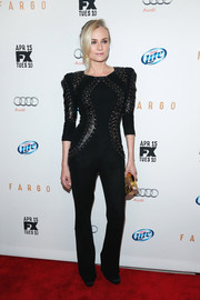 Diane Kruger was rocker-chic at the 'Fargo' screening in a figure-hugging black Zuhair Murad jumpsuit with lace detailing on the bodice.
