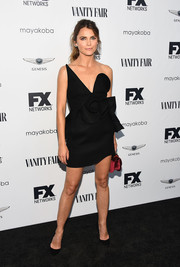 Keri Russell rocked an architectural strapless dress by Saint Laurent at the FX and Vanity Fair Emmy celebration.