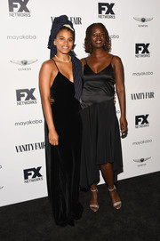 Zazie Beetz donned a black velvet slip gown for the FX and Vanity Fair Emmy celebration.