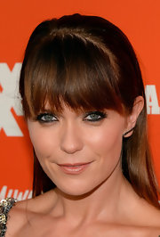 Katie Aselton sported a simple straight 'do with thick bangs when she attended the FXX Network launch.