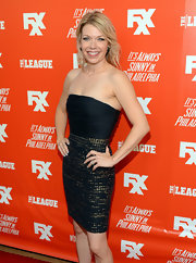 Mary Elizabeth Ellis oozed sophistication in a strapless dress with a ruched bodice and a sparkly skirt at the FXX Network launch.