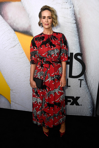 Sarah Paulson tied her look together with a black box clutch.
