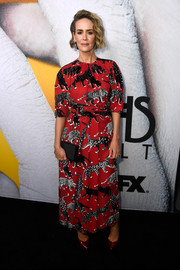 Sarah Paulson attended the 'American Horror Story: Cult' FYC event wearing an animal-print maxi dress by Carolina Herrera.