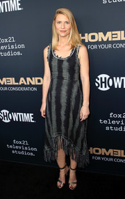 Claire Danes attended the FYC event for 'Homeland' wearing a printed maternity dress by Nina Ricci.