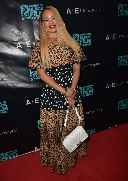 Faith Evans Print Dress [clothing,carpet,red carpet,shoulder,premiere,dress,fashion,long hair,joint,flooring,miami,florida,american black film festival,faith evans]