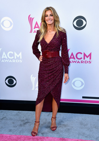 Faith Hill Strappy Sandals [faith hill,arrivals,clothing,dress,red carpet,carpet,pink,fashion,cocktail dress,hairstyle,magenta,shoulder,las vegas,nevada,toshiba plaza,academy of country music awards]