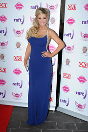 Nicola McLean looked sexy in an open back long gown at the Fake Bake Charity 'Glitz and Glamour' event.