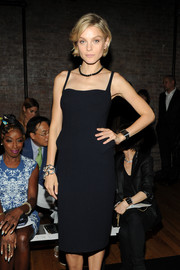 Jessica Stam attended the Fallon fashion show wearing a chic silver link bracelet.