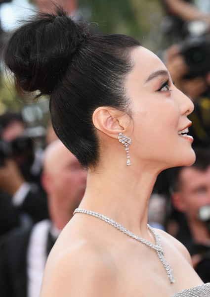 Fan Bingbing Hair Knot [hair,hairstyle,chin,beauty,chignon,bun,eyebrow,skin,black hair,long hair,fan bing bing,screening,everybody knows todos lo saben opening gala red carpet arrivals - the 71st annual cannes film festival,everybody knows todos lo saben and the opening gala during the 71st annual cannes film festival at palais des festivals on may 8,france,cannes]