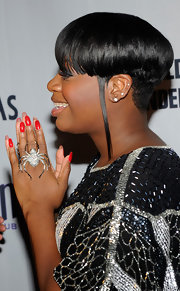 Fantasia Barrino had her nails painted with red polish at her album release party.