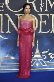 Zoe Kravitz looked mesmerizing in a strapless pink Armani Privé gown with a ruffled waist at the UK premiere of 'Fantastic Beasts: The Crimes of Grindelwald.'