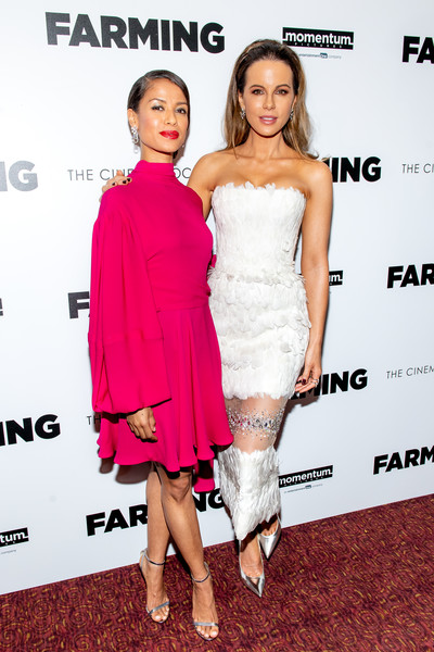 More Pics of Gugu Mbatha-Raw Diamond Chandelier Earrings (1 of 9) - Gugu Mbatha-Raw Lookbook - StyleBistro [cocktail dress,clothing,dress,shoulder,strapless dress,premiere,fashion,carpet,joint,footwear,gugu mbatha-raw,kate beckinsale,farming,new york,new york screening at village east cinema,screening]
