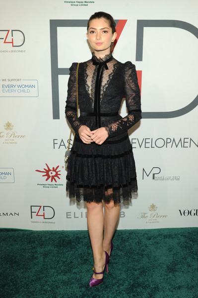 Emily Robinson was classic and ladylike in a little black lace dress by Elie Saab at the First Ladies Luncheon.