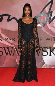 Naomi Campbell worked the sheer trend with this black Alexander McQueen number at the Fashion Awards 2016.
