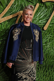Pink layered a navy Stella McCartney bomber jacket over an embroidered dress for the Fashion Awards 2017.