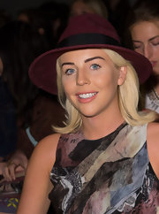 Lydia Bright wore a wide-brimmed purple fedora at the Fashion Fringe Catwalk Event in London.