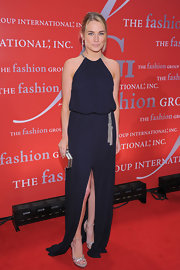 Amanda Hearst wore a drop-waist navy gown with a center front slit and a silver tasseled belt for Fashion Group International's 28th Annual Night of the Stars.