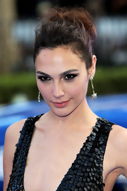 Gal Gadot chose a slightly messy updo for her look at the London premiere of 'Fast & Furious 6.'