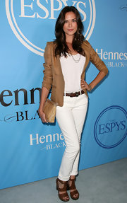 Odette Yustman showed off her petite figure in white jeans and a tan blazer.