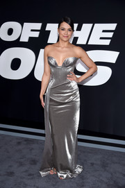 Michelle Rodriguez was all about futuristic glamour in a metallic strapless gown by Vivienne Westwood at the premiere of 'The Fate of the Furious.'
