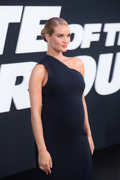 More Pics of Rosie Huntington-Whiteley Classic Bun (1 of 11) - Rosie Huntington-Whiteley Lookbook - StyleBistro [the fate of the furious,shoulder,clothing,dress,little black dress,fashion model,beauty,fashion,cocktail dress,hairstyle,joint,rosie huntington-whiteley,new york city,radio city music hall,new york premiere]