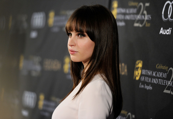Felicity Jones Long Straight Cut with Bangs