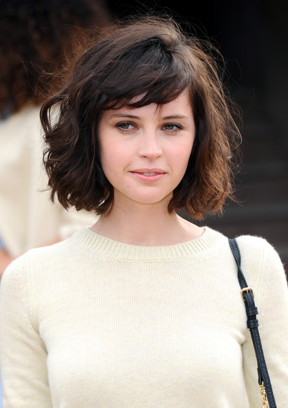 Felicity Jones Curled Out Bob