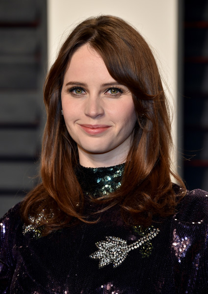 Felicity Jones Medium Straight Cut with Bangs