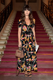 Miroslava Duma kept it modest in this printed maxi dress during the Fendi Couture fashion show.