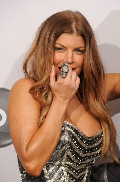 Fergie Cocktail Ring [hair,beauty,hairstyle,long hair,singer,brown hair,lip,blond,music artist,mouth,fergie,american music awards,award,room,press room,nokia theatre l.a. live,california,the black eyed peas,duo or group,pop/rock music - favorite band]