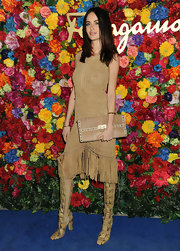Nicole Trunfio rocked this bohemian-style tan fringed dress.